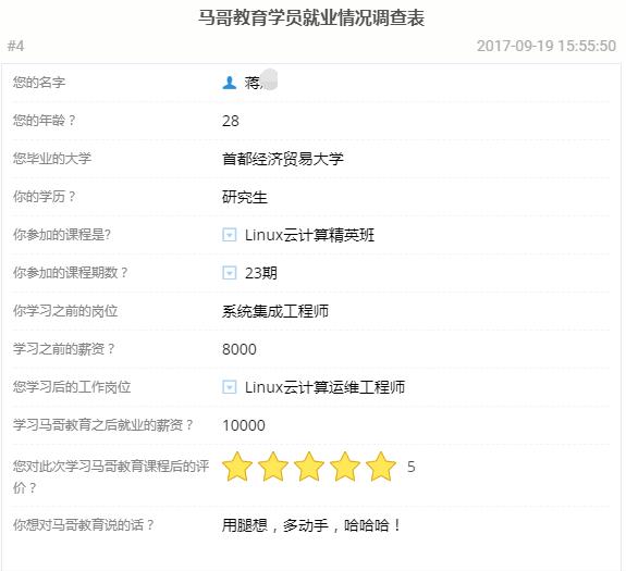 【学员喜讯-614期】研究生学Linux云计算4个月轻松年薪13万