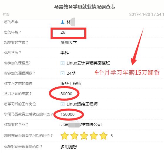 【学员喜讯-620期】服务工程师学Linux云计算4个月年薪15万提升100%