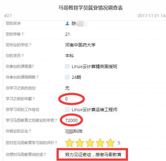 【学员喜讯-630期】中医学生21岁学Linux云计算4个月二线城市就业7.2万