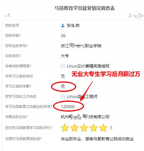 【学员喜讯-738期】毕业即失业!26岁大专生学习Linux云计算4个月月薪上万!